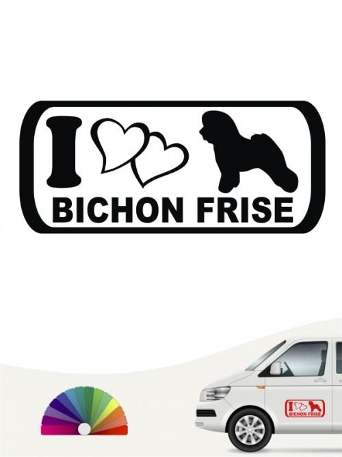 I Love Bichon Frise Hundeaufkleber anfalas.de