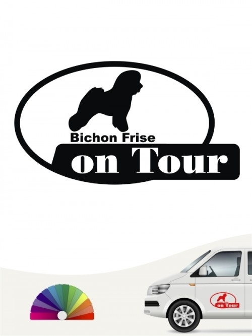 Bichon Frise on Tour Heckscheibenaufkleber anfalas.de