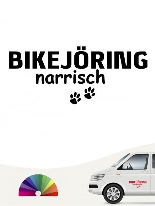 Hunde-Autoaufkleber Bikejöring narrisch von Anfalas.de