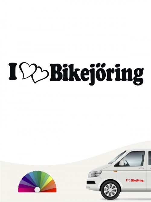 I Love Bikejöring Aufkleber für das Auto von anfalas.de