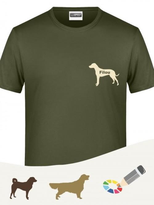 Herren Bio Shirt mit Hundemotiv und Wunschtext von anfalas.de