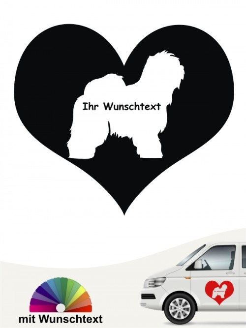 Bobtail Herzmotiv Autoaufkleber anfalas.de