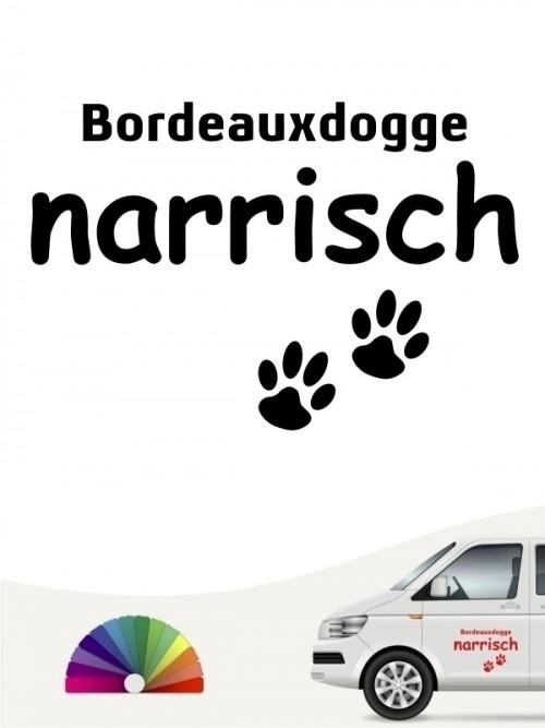 Hunde-Autoaufkleber Bordeauxdogge narrisch von Anfalas.de