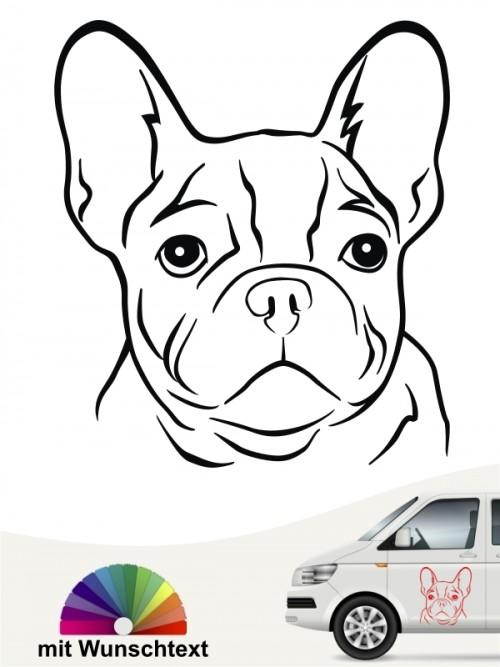 Boston Terrier Hundekopf Aufkleber mit Wunschtext anfalas.de