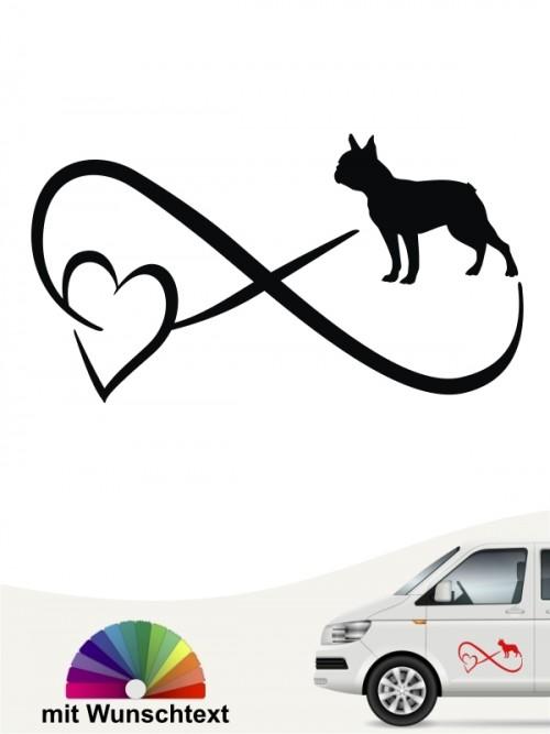 Boston Terrier Autoaufkleber mit Wunschtext von anfalas.de