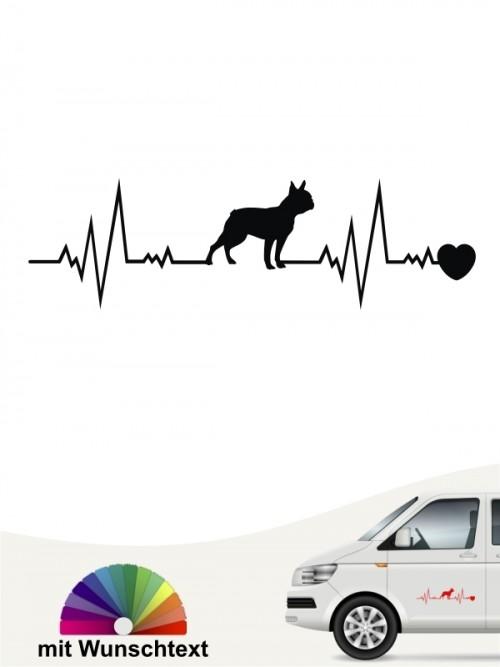 Boston Terrier Hundeaufkleber mit Wunschtext von anfalas.de