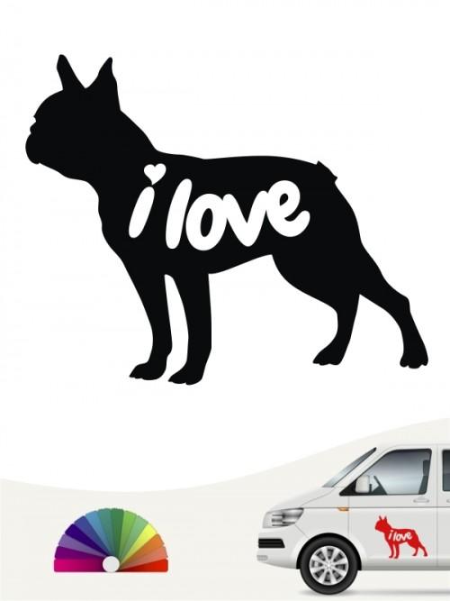 Boston Terrier i love Aufkleber von anfalas.de