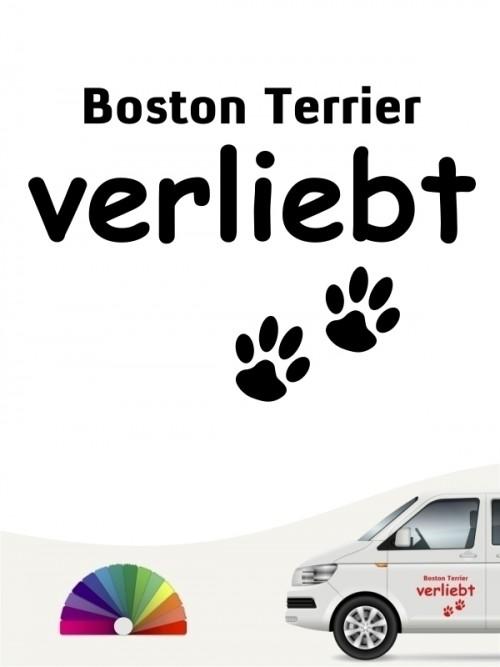 Hunde-Autoaufkleber Boston Terrier verliebt von Anfalas.de
