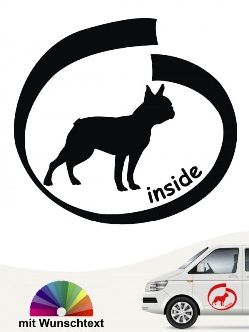 Boston Terrier inside Hundeaufkleber mit Text anfalas.de