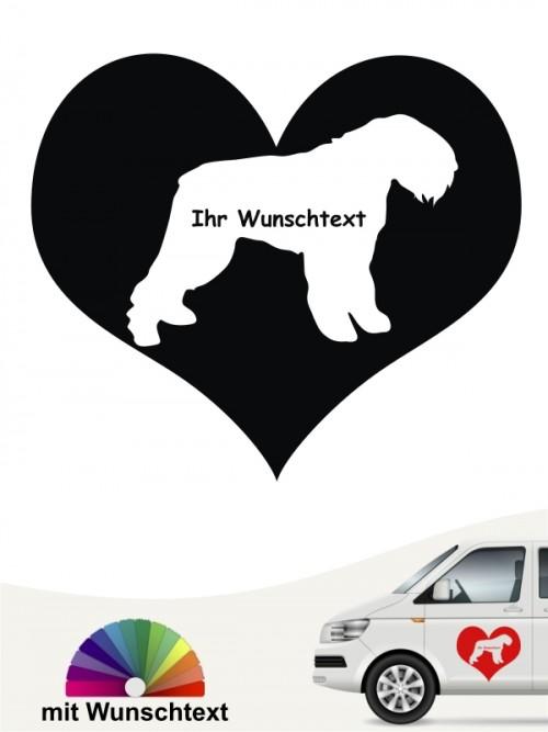 Bouvier des Flandres Herzmotiv mit Wunschtext anfalas.de