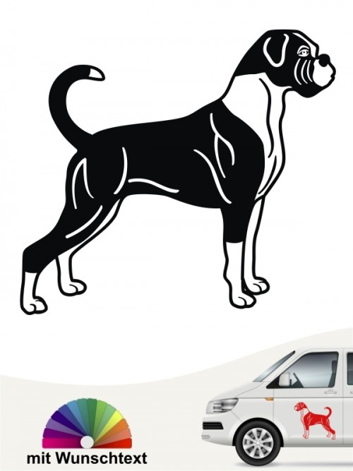 Hundeaufkleber Boxer Silhouette mit Wunschtext anfalas.de