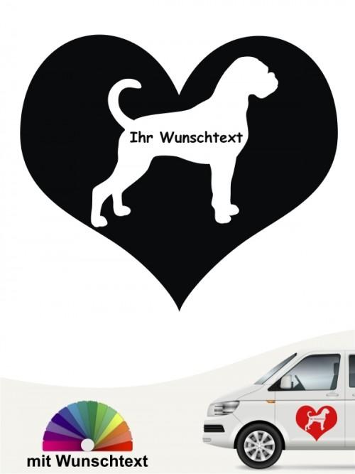 Boxer Hundeaufkleber Herzmotiv mit Wunschtext anfalas.de
