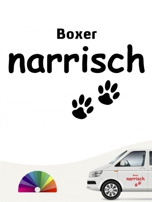 Hunde-Autoaufkleber Boxer narrisch von Anfalas.de