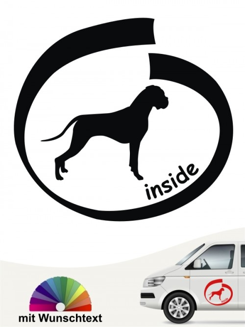 Boxer inside Hundeaufkleber mit Wunschtext anfalas.de