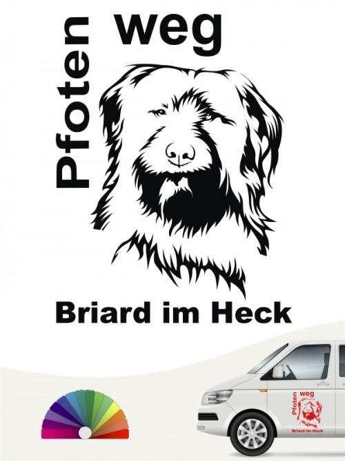 Pfoten weg Briard im Heck Hundeaufkleber von anfalas.de