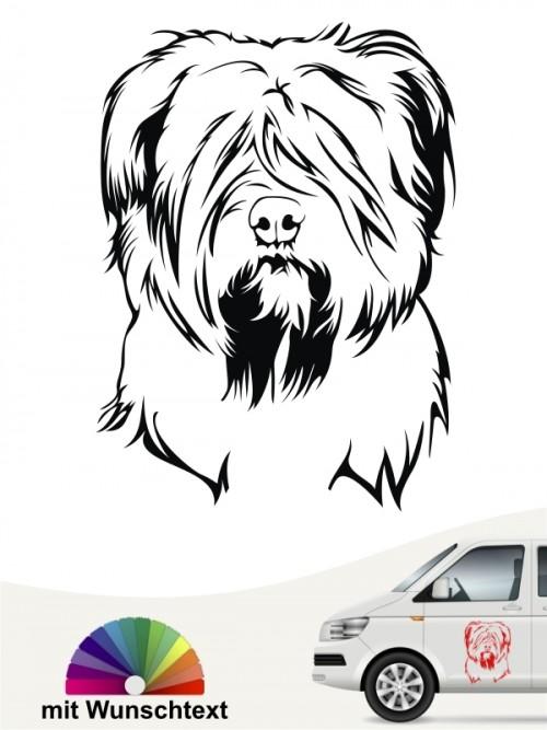 Briard Hundekopf Autoaufkleber mit Wunschtext anfalas.de