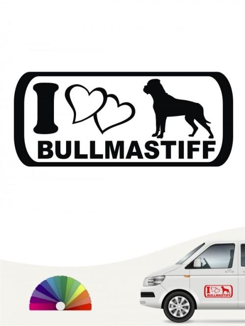 I Love Bullmastiff Hundeaufkleber anfalas.de