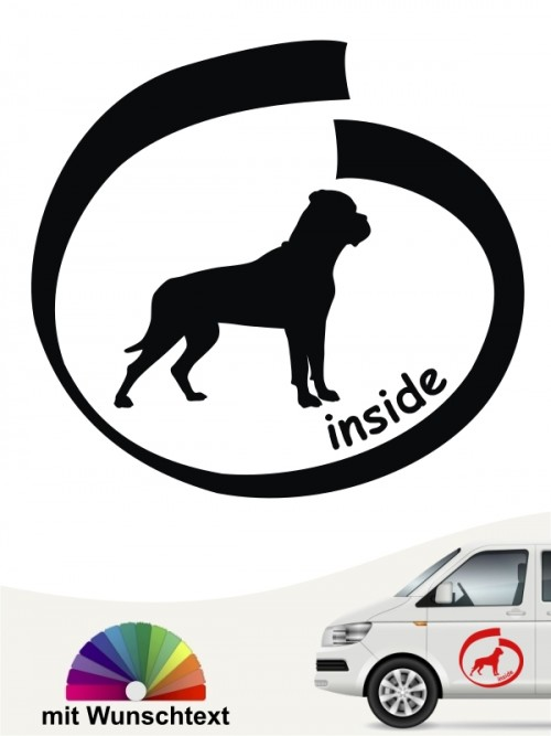 Bullmastiff inside Autosticker mit Wunschtext anfalas.de