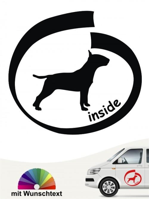 Bullterrier inside Autoaufkleber mit Wunschtext anfalas.de