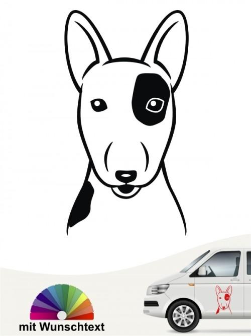 Bullterrier Comic Kopf mit Wunschtext anfalas.de