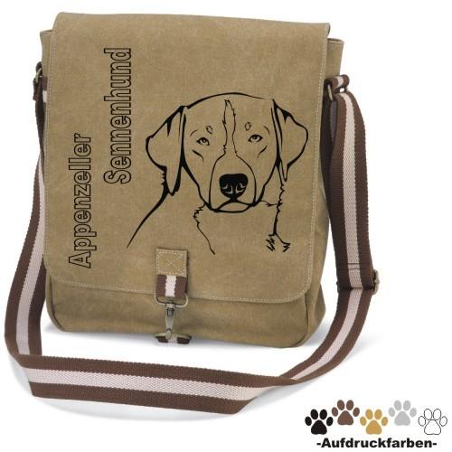 """Canvas Tasche """"Appenzeller Sennenhund"""" Kopfmotiv von anfalas.de"""