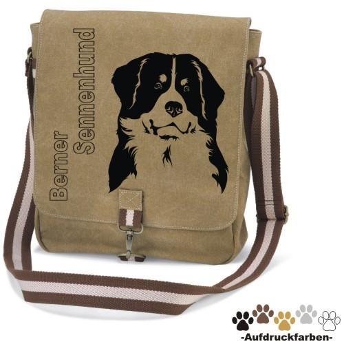 """Canvas Tasche """"Berner Sennenhund"""" Kopfmotiv von anfalas.de"""