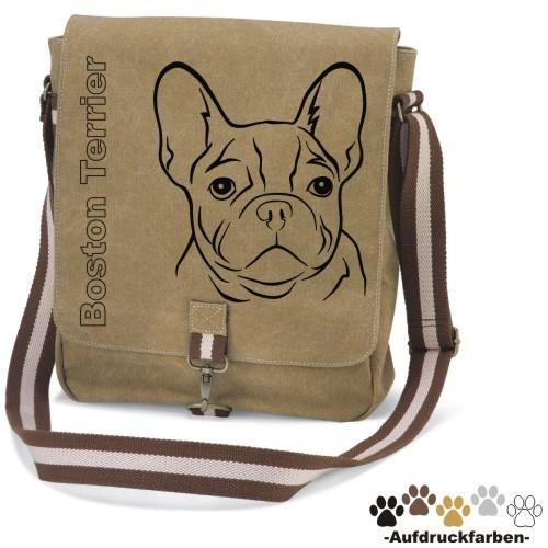"""Canvas Tasche """"Boston Terrier"""" Kopfmotiv von anfalas.de"""