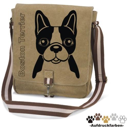 """Canvas Tasche """"Boston Terrier Comic"""" Kopfmotiv von anfalas.de"""