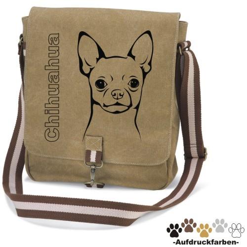 """Canvas Tasche """"Chihuahua Kurzhaar"""" Kopfmotiv von anfalas.de"""
