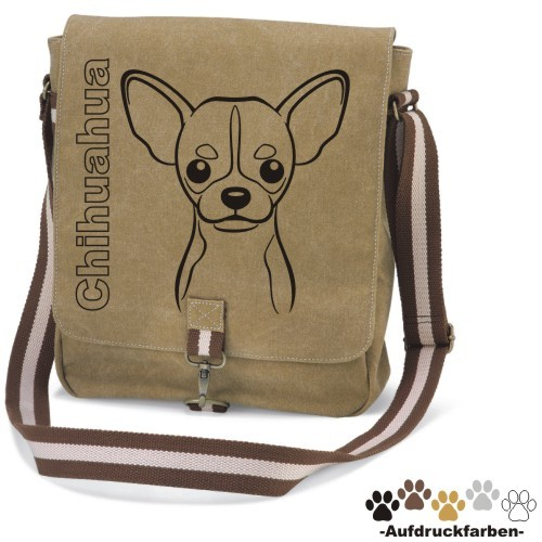 "Canvas Tasche ""Chihuahua Kurzhaar Comic"" Kopfmotiv von anfalas.de"