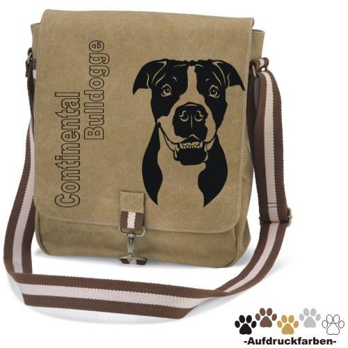 """Canvas Tasche """"Continental Bulldogge"""" Kopfmotiv von anfalas.de"""