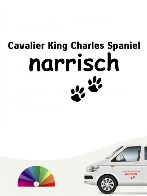 Hunde-Autoaufkleber Cavalier King Charles Spaniel narrisch von Anfalas.de