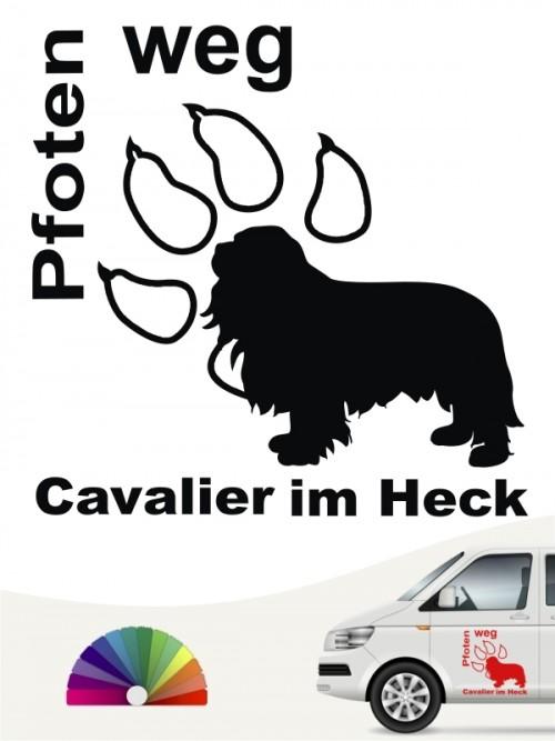 Pfoten weg Cavalier im Heck Autosticker anfalas.de