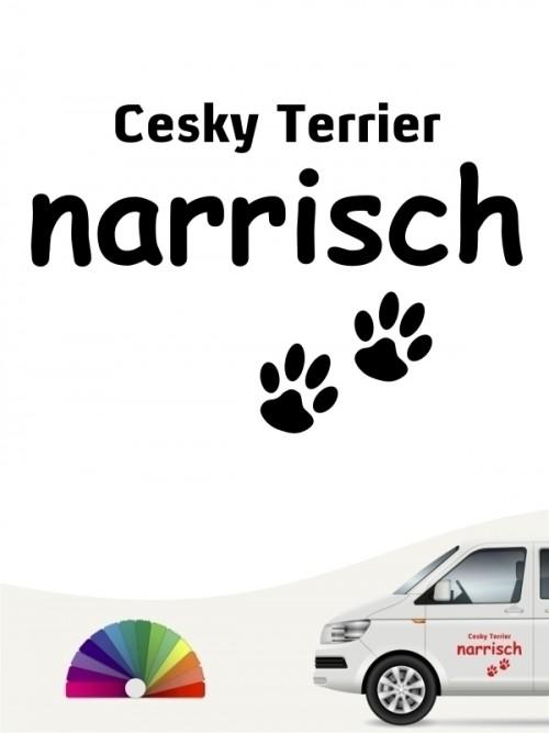Hunde-Autoaufkleber Cesky Terrier narrisch von Anfalas.de