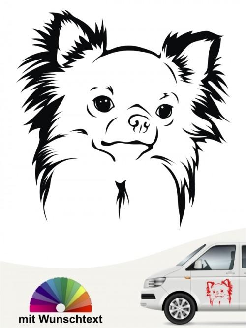 Chihuahua Langhaar Kopf mit Wunschtext anfalas.de