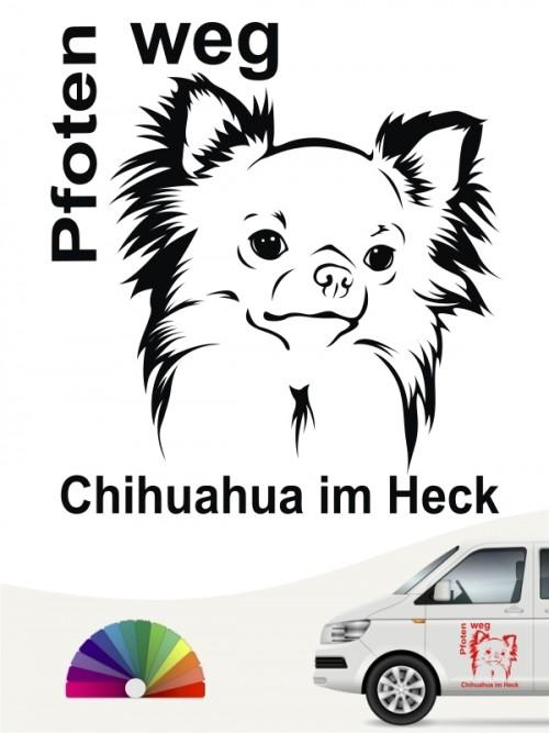 Chihuahua im Heck Pfoten weg Sticker anfalas.de