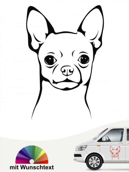 Chihuahua Kurzhaar Kopf mit Wunschtext anfalas.de