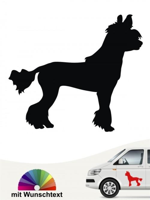 Chinesischer Schopfhund Autoaufkleber mit Wunschtext anfalas.de