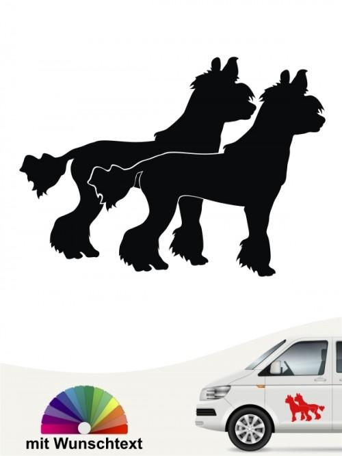 Chinesischer Schopfhund doppel Motiv mit Wunschtext anfalas.de