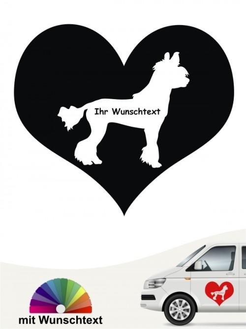 Chinesischer Schopfhund Herzmotiv mit Wunschname anfalas.de