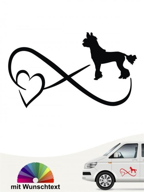 Chinesischer Schopfhund Autoaufkleber mit Wunschtext von anfalas.de