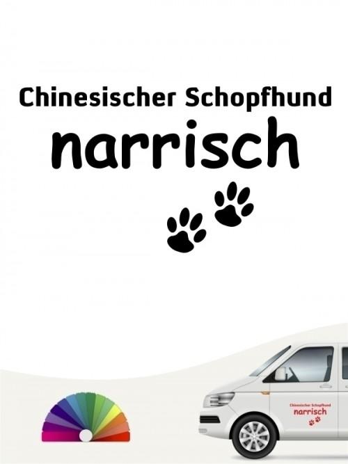 Hunde-Autoaufkleber Chinesischer Schopfhund narrisch von Anfalas.de