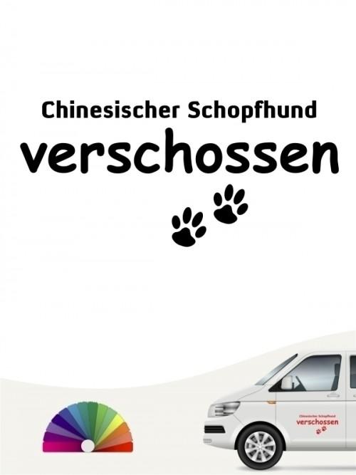 Hunde-Autoaufkleber Chinesischer Schopfhund verschossen von Anfalas.de