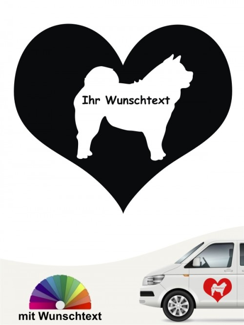 Chow-Chow Silhouette im Herzmotiv mit Wunschname anfalas.de