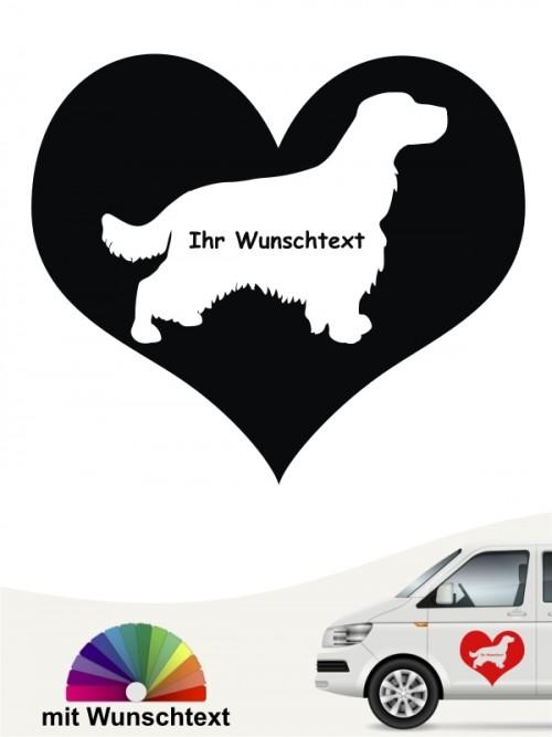 Cocker Spaniel im Herzmotiv mit Wunschname anfalas.de