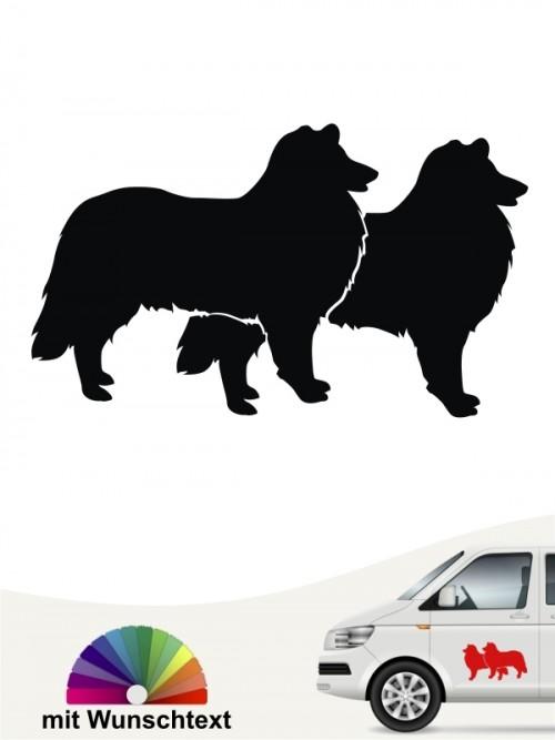 Collie doppel Motiv Sticker mit Wunschtext anfalas.de