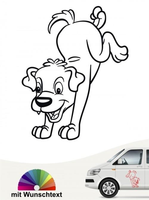 Comic Hunde Autosticker mit Wunschtext von anfalas.de