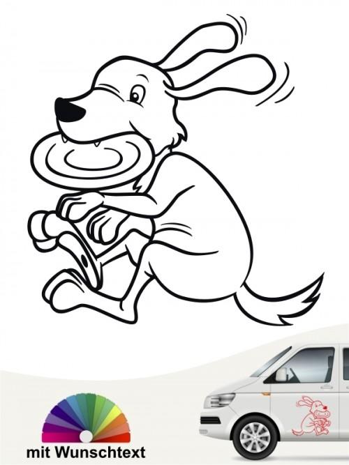 Discdogging lustiger Comic Hund Aufkleber anfalas.de