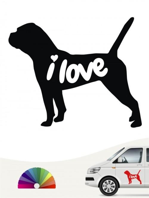 Continental Bulldogge i love Aufkleber von anfalas.de
