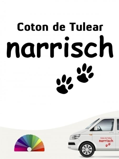 Hunde-Autoaufkleber Coton de Tulear narrisch von Anfalas.de